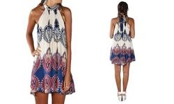 Leo Rosi Darcy Women's Halter Dress - Multi - Size: Small
