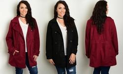 Women's Plus Size Long Sleeve Collared Peacoat w/ Full Lining - Black - XL
