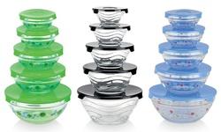 Diamond Home Glass Nesting Bowls with Lids Set 10-Pcs - Blue/Sunflower