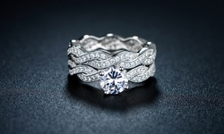 18K White Gold CZ Braided Engagement Ring Set - Silver - Size: 9