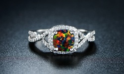 18K White Gold Plated Black Opal Ring - Size: 7