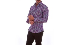 Azaro Uomo Men's Printed Button-Down Shirts - David Purple - Size: XXL