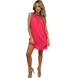 Chic Shift Dress: Lace Medallion Insert Open Back Pink/XL