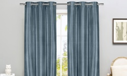 Room Darkening Thermal Grommet Blackout Grommet Curtain Pair Panel - Blue