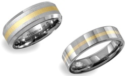 Titanium Band: With 14kt Yellow Gold/8