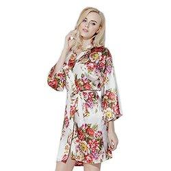 Cloud Nine Women's Floral Print Soft Satin Kimono Robe - White - Size: One