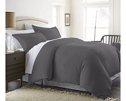 Beckham Hotel Collection Luxury Soft Brushed 1800 Series Microfiber 3 Piece Duvet Cover Set - Hypoallergenic - King/Cal King, Gray