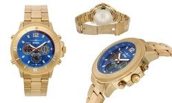Stuka Men's Analog/Digital Watch - Gold/Blue