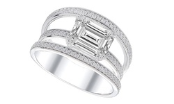 Sterling Silver Cage Ring: Emerald Cut - Size: 8