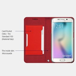 Araree Canvas Diary Case for Galaxy S6 Edge - Scaled Red