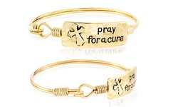 """Pray for a Cure"" Oxidized Hook Bracelet in 18K Gold Plated Brass"