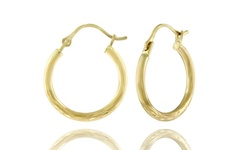 Rel 14K Women's Two Tone Gold Diamond Cut Hoop Earrings - Size: 12mm