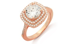 Cubic Zirconia 18K Double Halo Cushion Cut Ring - Rose Gold - Size: 8
