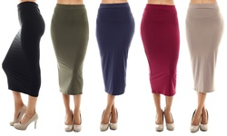 Women's Pencil Skirts (5-pack): Black-navy-burgundy-olive-taupe/medium