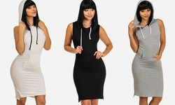 ModaXpressOnline Women's Bodycon 3/4 Raglan Hoodie Dress - Beige - Size: M
