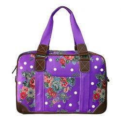 Miss Lulu Women's Floral Polka Dot Travel Handbag - Purple - Size: Large