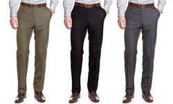 Uomo Men's Slim Fit Sharskin Dress Pants - Taupe - Size: 30/34