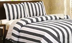 Vera Ashley 3-Piece Printed Quilt Set - Blue Stripe - Size: Queen