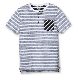 Mossimo Boy's Stripe Pocket Tee - Gray/White/Black - Size: Large