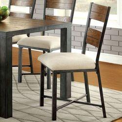 Furniture of America Metal Frame Wood Chair Set of 2 - Weathered Oak
