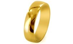 Men's Titanium Traditional Wedding Band - Gold - Size: 10