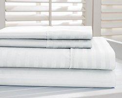 Hotel New York Dobby Stripe 1000tc Cotton-rich Sheets: White/king