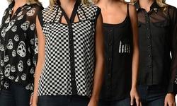 Women's Printed Chiffon Blouses - Chevron - Size: 2X