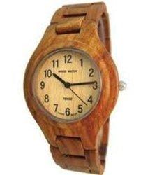 Tense Brown Sandalwood Round Bracelet Hypoallergenic Wood Watch