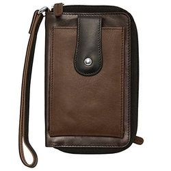 Leather Phone Super Case Wristlet Wallet - Bown/Black