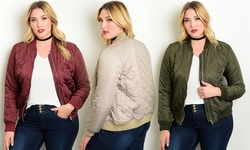 Wholesale Fashion Square Women's Plus-Sz Quilted Bomber Jacket - Taupe/1X