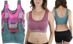 VX Women's Plus-Size 6-Pack Scoop-Neck Sports Bras - Assorted Colors