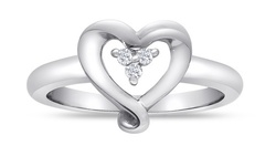 Three Diamond Heart Promise Ring in Sterling Silver - Size: 4