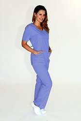 Natural Uniforms Women's Mock Medical Scrub Set - Ceil Blue - Size: XS