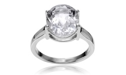 Journee Collection Sterling Silver Crystal Quartz Ring - Size: 8