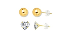 14kt Solid Gold Ball & Heart Swarovski Element Stud Set