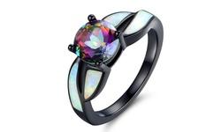 Black Rhodium White Opal & Mystic Topaz Ring - Size 5