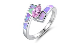 Pink Opal Inlay with Pink Marquis Cubic Zirconia Bipass Ring - Size: 6