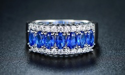 Sevil Oval-Cut Genuine Sapphire Spinel Ring Size: 7