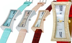 Ladies Curvacious Crystal Watch By Adee Kaye: Gold-tone/red Band