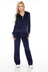 Velour Lounge Suit Two-Piece Set: Navy/Large