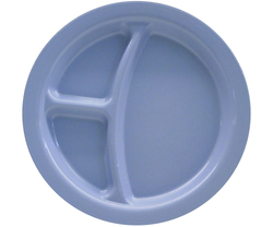 Carlisle 3 Compartment Plate Polycarbonate - Slate Blue - Sie: 9""