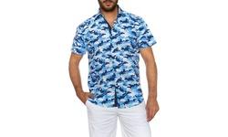 Suslo Couture Men's Button Down Short Sleeve Dress Shirt - Blue - Size:XXL