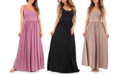 Women's Long Ruched Dress: Mocha/xl