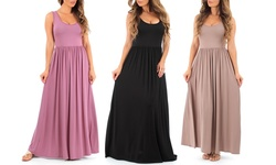 Women's Draped Maxi Dresses - Mauve - Size: Large
