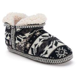 Muk Luks Amira Women's Twisted Knit Slipper Bootie - Grey - Size: Small