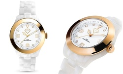 Luxury Crystal Watch 18K Gold Plated Bezel Women's Watch - White/Gold