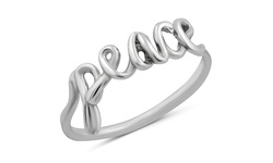 Sterling Silver Inspirational Rings - Peace - Size: 7
