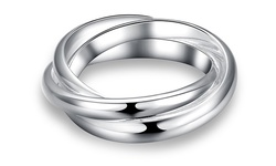Rubique Jewelry Sterling Silver Tri Bands Rolling Ring - Size: 7