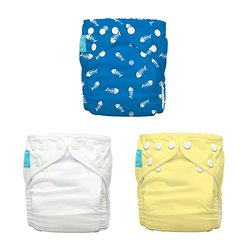 Charlie Banana 3 Diapers Plus 6 Inserts - Fish Sticks - One Size