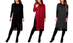 Women's Knee-length Hacci Tunic: Black/large